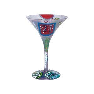 "Lolita hand painted ""21"" martini glass"